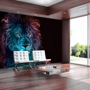 Papier Peint Panoramique Abstract lion - rainbow
