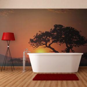 Papier Peint Panoramique Afrique: coucher de soleil