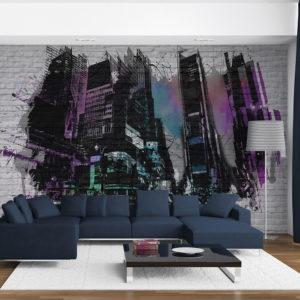 Papier Peint Panoramique Art urbain : Grande ville moderne