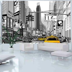 Papier Peint Panoramique BD - taxis jaunes à New York