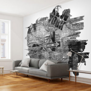 Papier Peint Panoramique Black-and-white New York collage