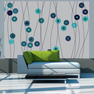 Papier Peint Panoramique Boutons bleu d'azur