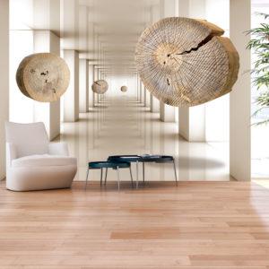 Papier Peint Panoramique Cercles de bois volants