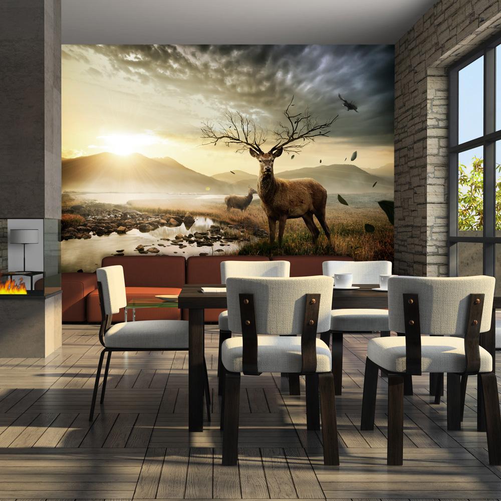 Papier Peint Panoramique Paysage papier peint panoramique cerf et ruisseau de montagne