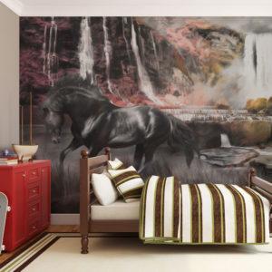 Papier Peint Panoramique Cheval noir et cascade
