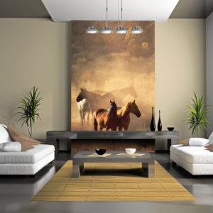 Papier Peint Panoramique Chevaux sauvages en pleine steppe