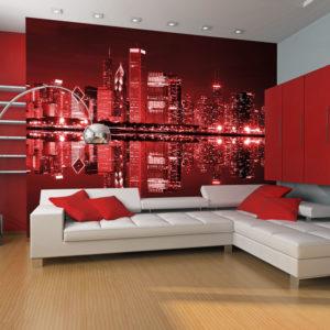 Papier Peint Panoramique Chicago couleur du vin rouge