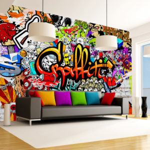 Papier Peint Panoramique Colorful Graffiti