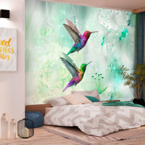 Papier Peint Panoramique Colourful Hummingbirds (Green)