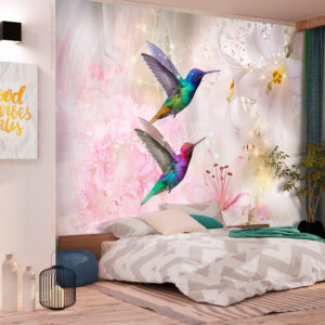 Papier Peint Panoramique Colourful Hummingbirds (Pink)