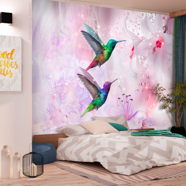 Papier Peint Panoramique Colourful Hummingbirds (Purple)
