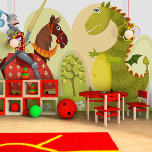 Papier Peint Panoramique Dragon et chevalier