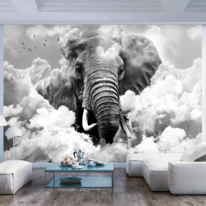Papier Peint Panoramique Elephant in the Clouds (Black and White)