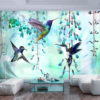 Papier Peint Panoramique Flying Hummingbirds (Green)