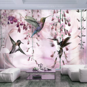 Papier Peint Panoramique Flying Hummingbirds (Pink)