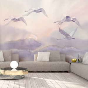Papier Peint Panoramique Flying Swans