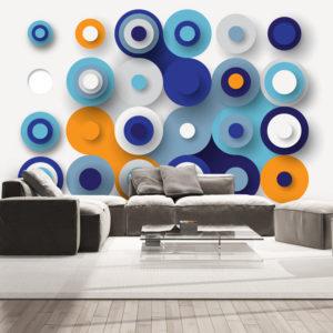 Papier Peint Panoramique Geometry Of Blue Wheels