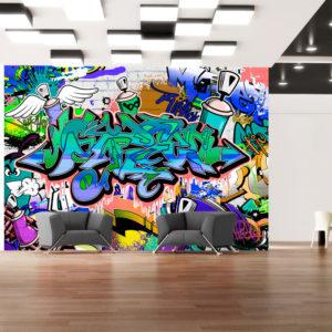 Papier Peint Panoramique Graffiti: motif bleu