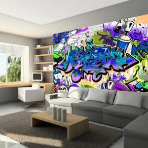 Papier Peint Panoramique Graffiti: violet theme