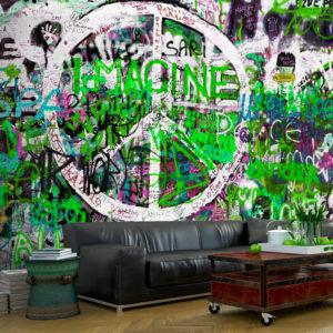Papier Peint Panoramique Green Graffiti