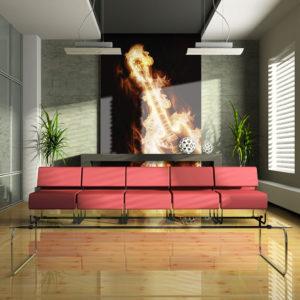 Papier Peint Panoramique Guitare en flammes