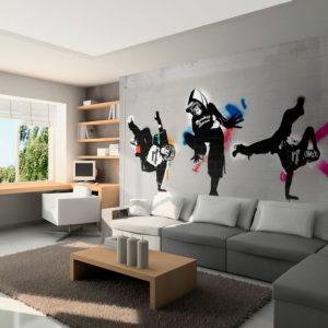 Papier Peint Panoramique Monkey dance - street art