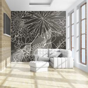 Papier Peint Panoramique Motif floral noir et blanc