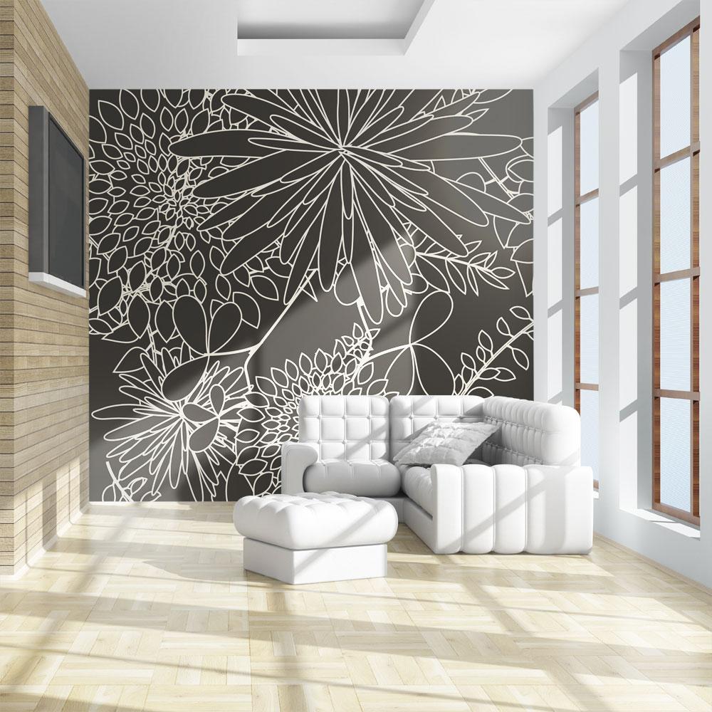 Papier Peint Panoramique Noir Et Blanc papier peint panoramique motif floral noir et blanc