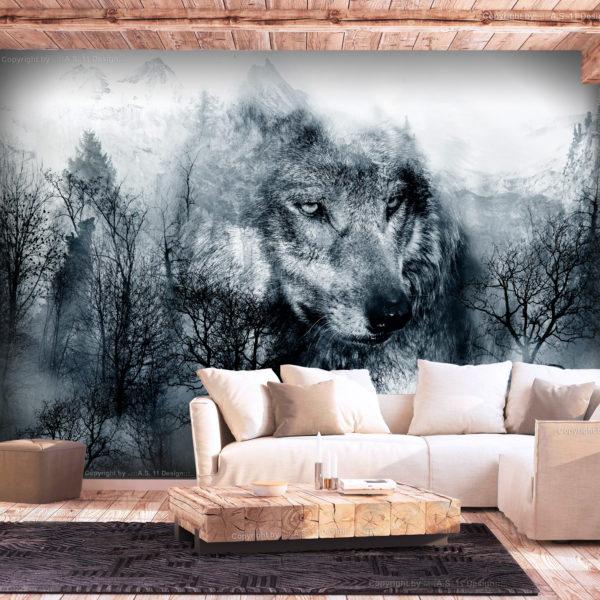 Papier Peint Panoramique Mountain Predator (Black and White)