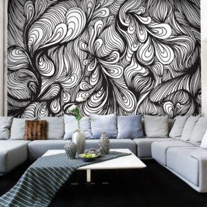 Papier Peint Panoramique Noir et blanc style rétro