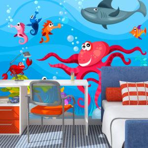 Papier Peint Panoramique Poulpe et requin