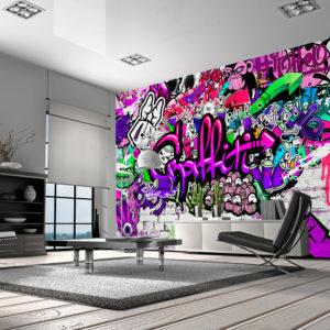 Papier Peint Panoramique Purple Graffiti