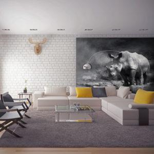 Papier Peint Panoramique Rhinocéros perdu dans la rêverie