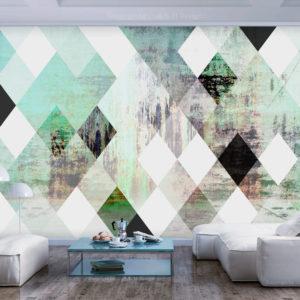 Papier Peint Panoramique Rhombic Chessboard (Green)