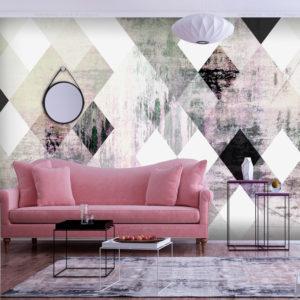 Papier Peint Panoramique Rhombic Chessboard (Pink)