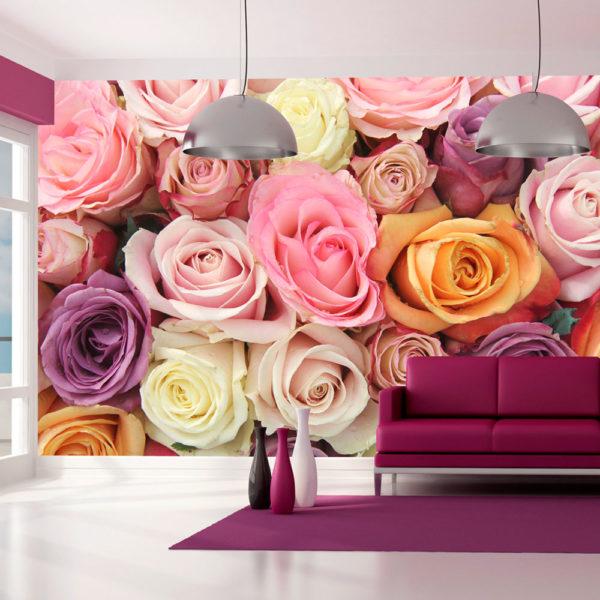 Papier Peint Panoramique Roses pastels