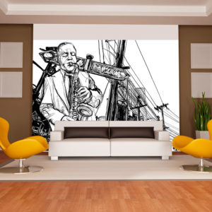 Papier Peint Panoramique Saxophone recital on Broadway