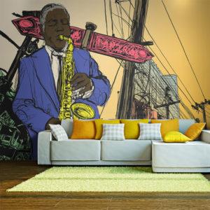 Papier Peint Panoramique Saxophonist in New York
