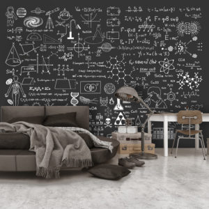 Papier Peint Panoramique Science on Chalkboard