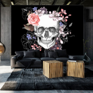 Papier Peint Panoramique Skull and Flowers