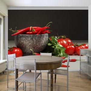 Papier Peint Panoramique Tomates et piments rouges