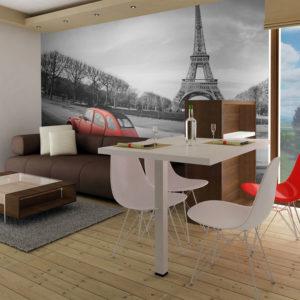 Papier Peint Panoramique Tour Eiffel et voiture rouge