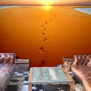 Papier Peint Panoramique Traces de pas sur le sable