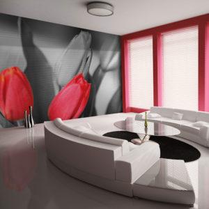 Papier Peint Panoramique Tulipes rouges sur fond noir et blanc