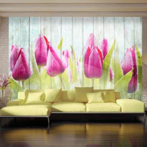 Papier Peint Panoramique Tulips on white wood