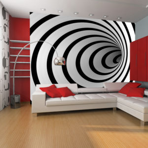 Papier Peint Panoramique Tunnel 3D noir et blanc