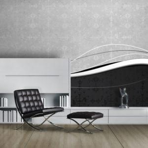 Papier Peint Panoramique Vagues en noir et blanc (vintage)