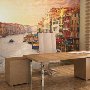 Papier Peint Panoramique Venise - la ville pleine de couleurs sur l'eau