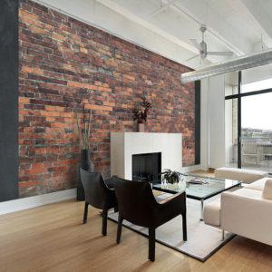 Papier Peint Panoramique Vintage Wall (Red Brick)