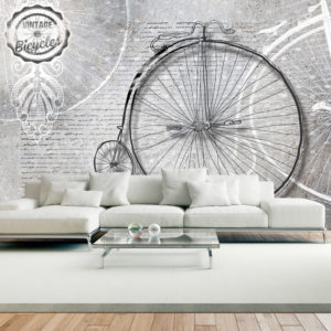 Papier Peint Panoramique Vintage bicycles - black and white